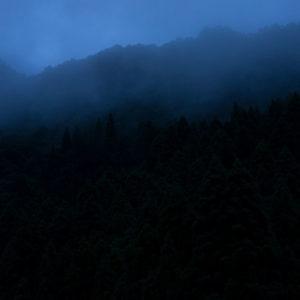日没後の三段峡付近。広島