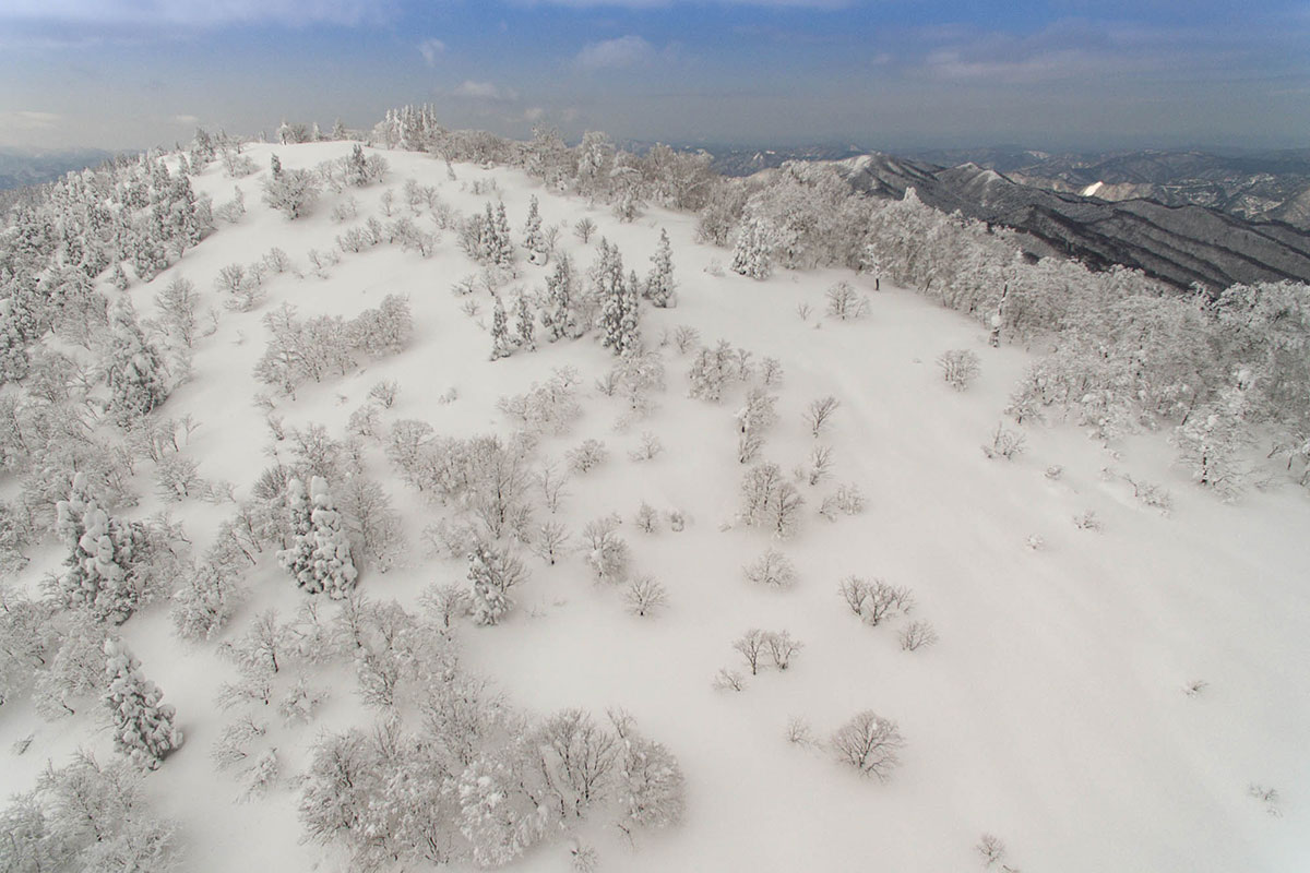 恐羅漢山頂を空撮