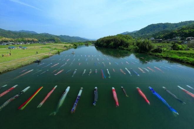 鹿も猪も多く生息する山口県の、風光明媚な佐波川の風景