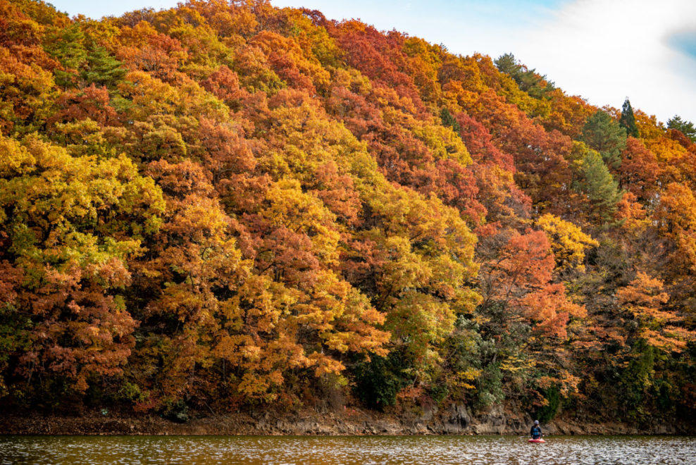紅葉の聖湖とSUP