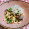 菜の花と鹿肉の卵炒め