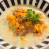 鹿肉とオレンジ白菜の豆乳スープ